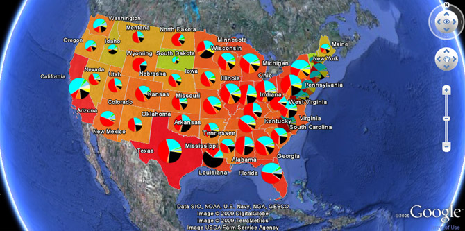emissions de CO2 aux Etats-Unis via Google Earth