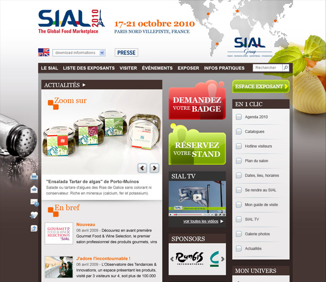 interface d'accueil site internet SIAL 2010