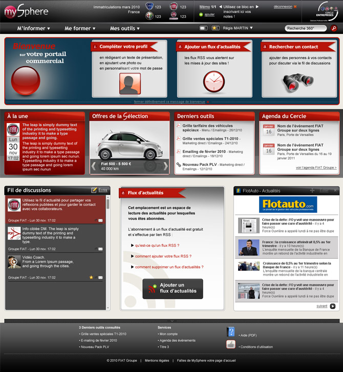 Accueil site intranet MySphere Fiat Group