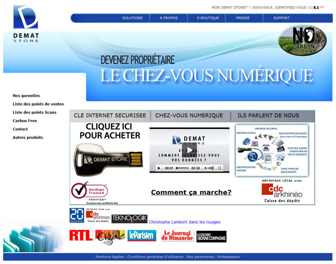 Page d'accueil du site internet demat-store.com, version 1