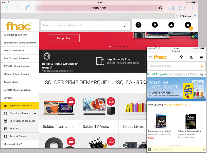 FNAC site web 2015 mobile